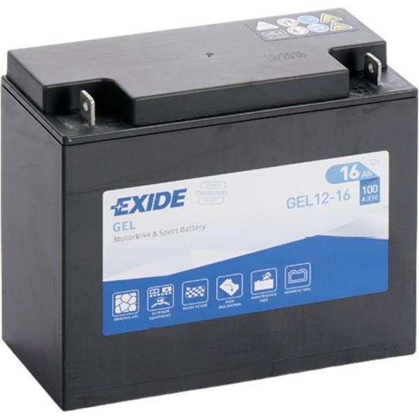 Batería Exide Moto 12V Agm Ready GEL12-16. 12V - 12Ah/100A (EN) (180x75x165mm)