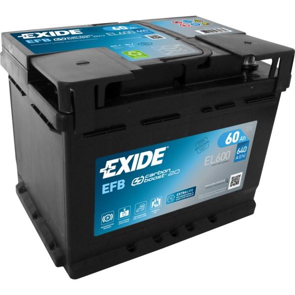 Batería Exide Efb EL600. 12V - 60Ah/640A (EN) Caja L2 (242x175x190mm)