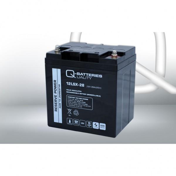 Batería Qbatteries Agm Long Life 12LSX-28. Tecnología AGM. 12V - 28Ah (165x125x175mm)