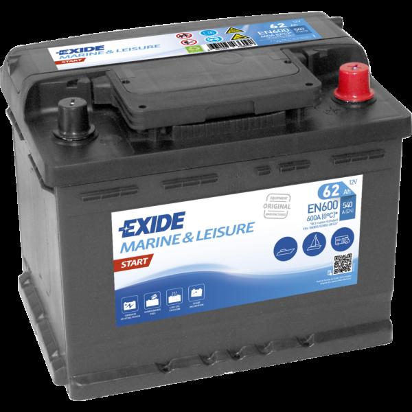 Batería Exide Marina Start EN600. 12V - 62Ah/540A (EN) Caja L2 (242x175x190mm)