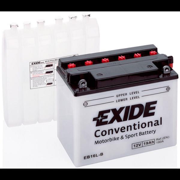 Batería Exide Moto 12V Conventional EB16L-B. 12V - 19Ah/190A (EN) (175x100x155mm)