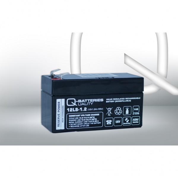 Batería Qbatteries Agm Standard 12LS-1.2. Tecnología AGM. 12V - 1,2Ah (97x43x52mm)