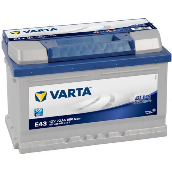 Batería Varta Blue Dynamic E43. 12V - 72Ah/680A (EN) Caja LB3 (278x175x175mm)