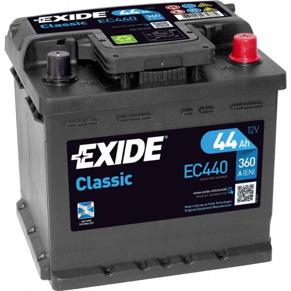 Batería Exide-Classic EC440. 12V - 44Ah/360A (EN) Caja L1 (207x175x190mm)