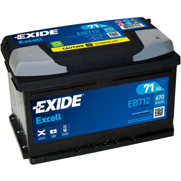 Batería Exide Excell EB712. 12V - 71Ah/670A (EN) Caja LB3 (278x175x175mm)