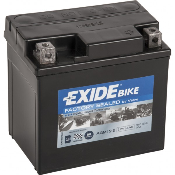 Batería Exide Moto 12V Agm Ready AGM12-5. 12V - 4Ah/70A (EN) (115x70x85mm)