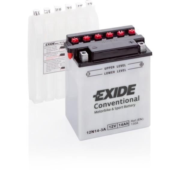 Batería Exide Moto 12V Conventional 12N14-3A. 12V - 14Ah/130A (EN) (135x90x165mm)