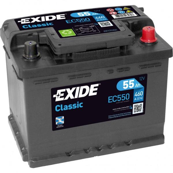 Batería Exide-Classic EC550. 12V - 55Ah/460A (EN) Caja L2 (242x175x190mm)