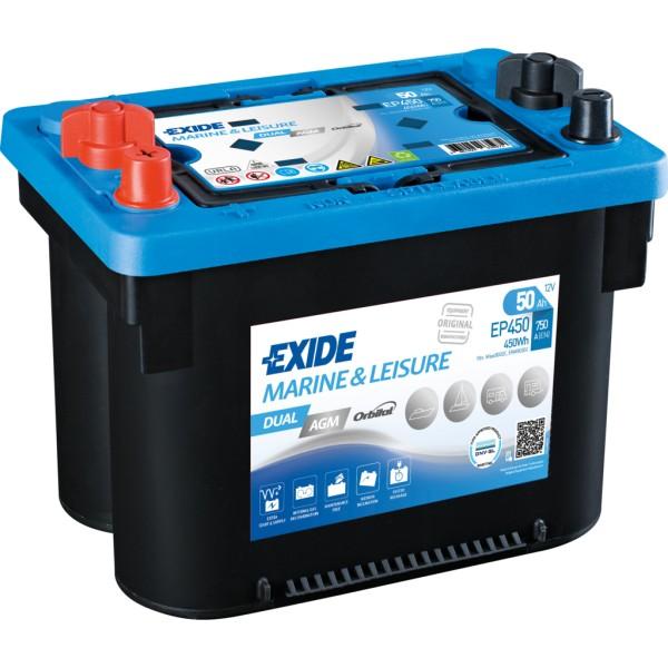 Batería Exide Marina Dual EP450. 12V - 50Ah/750A (EN) (260x173x206mm)