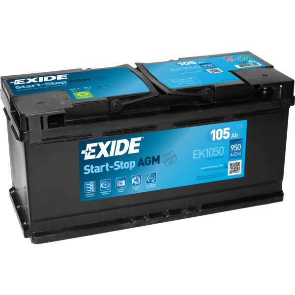 Batería Exide Agm EK1050. Tecnología AGM. 12V - 105Ah/950A (EN) Caja L6 (392x175x190mm)