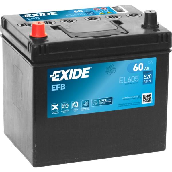 Batería Exide Efb EL605. 12V - 60Ah/520A (EN) Caja D23 (230x173x222mm)