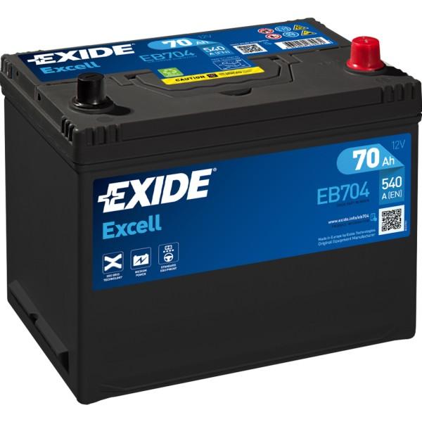 Batería Exide Excell EB704. 12V - 70Ah/540A (EN) Caja D26 (270x173x222mm)