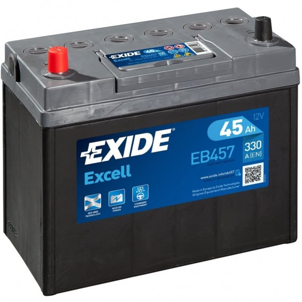 Batería Exide Excell EB457. 12V - 45Ah/330A (EN) Caja B24 (237x127x227mm)
