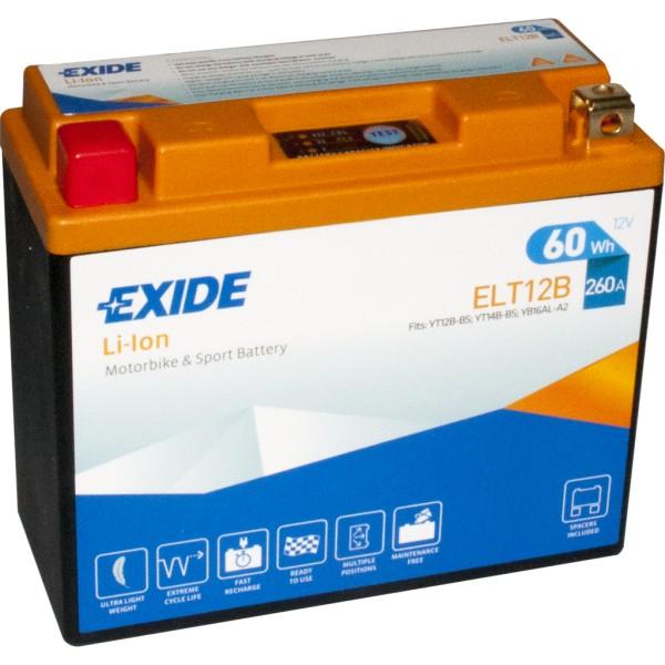 Batería Exide-Litio ELT12B. 12V - 5Ah/260A (EN) (150x65x130mm)