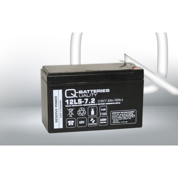 Batería Qbatteries Agm Standard 12LS-7.2-F1. Tecnología AGM. 12V - 7,2Ah (151x65x94mm)