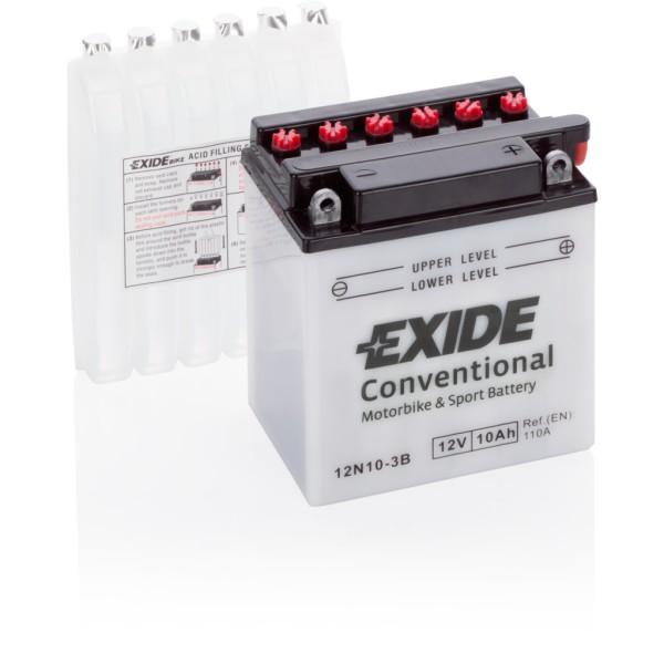 Batería Exide Moto 12V Conventional 12N10-3B. 12V - 10Ah/110A (EN) (135x75x145mm)