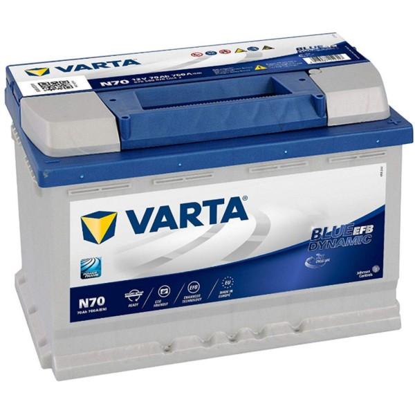 Batería Varta Blue Dynamic Efb N70. 12V - 70Ah/760A (EN) Caja L3 (278x175x190mm)