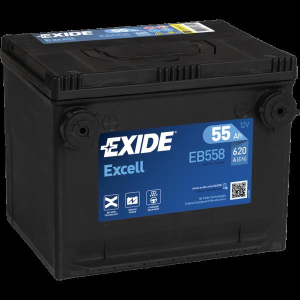 Batería Exide EB558. 12V - 55Ah/620A (EN) (228x180x186mm)