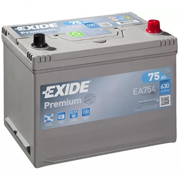 Batería Exide Premium EA754. 12V - 75Ah/630A (EN) Caja D26 (270x173x222mm)