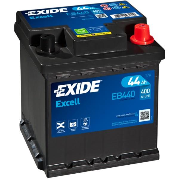 Batería Exide Excell EB440. 12V - 44Ah/400A (EN) Caja L0 (175x175x190mm)
