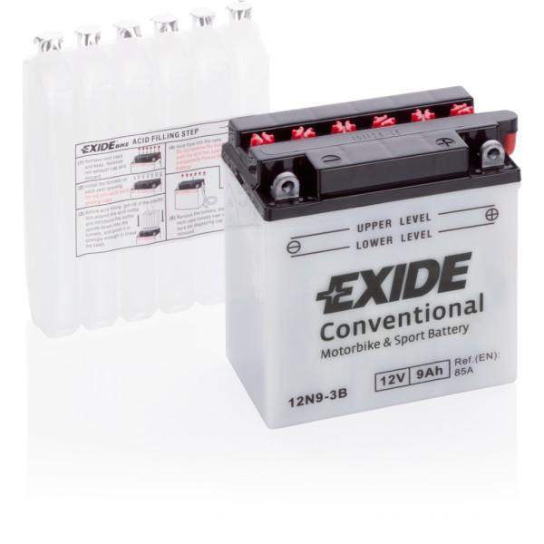 Batería Exide Moto 12V Conventional 12N9-3B. 12V - 9Ah/85A (EN) (135x75x140mm)