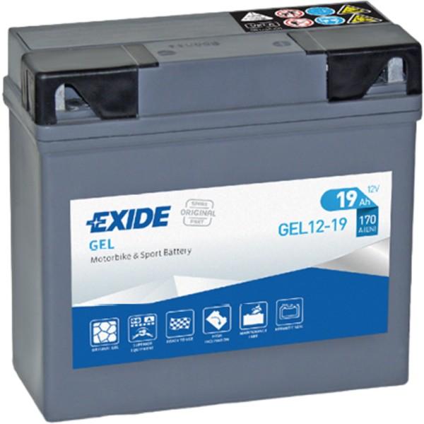 Batería Exide Moto 12V Agm Ready GEL12-19. 12V - 12Ah/170A (EN) (185x80x170mm)