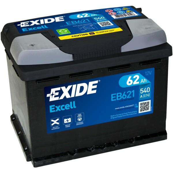 Batería Exide Excell EB621. 12V - 62Ah/540A (EN) Caja L2 (242x175x190mm)