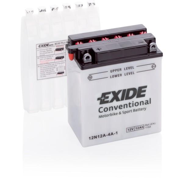 Batería Exide Moto 12V Conventional 12N12A-4A-1. 12V - 12Ah/115A (EN) (135x80x160mm)