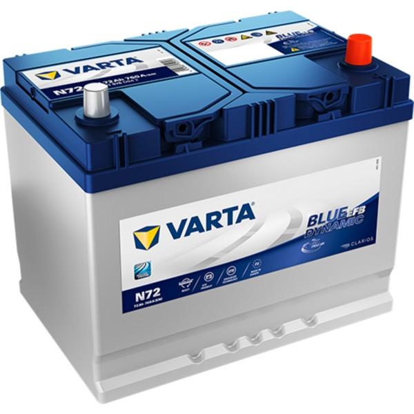 Batería Varta Blue Dynamic Efb N72. 12V - 72Ah/760A (EN) Caja D26 (261x175x220mm)