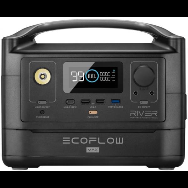 EcoFlow River MAX Power Station 576Wh Litio ION 600W Generador Portátil