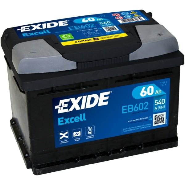 Batería Exide Excell EB602. 12V - 60Ah/540A (EN) Caja LB2 (242x175x175mm)