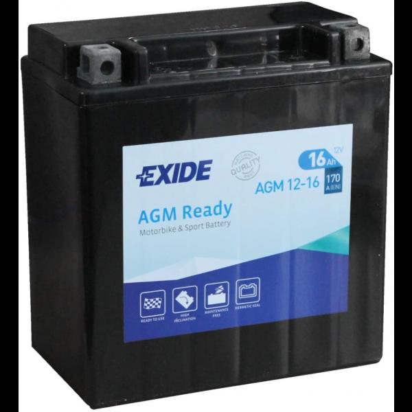 Batería Exide Moto 12V Agm Ready AGM12-16. 12V - 16Ah/170A (EN) (150x90x160mm)
