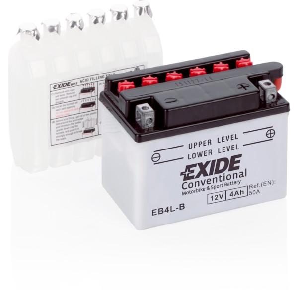 Batería Exide Moto 12V Conventional EB4L-B. 12V - 4Ah/50A (EN) (120x70x95mm)