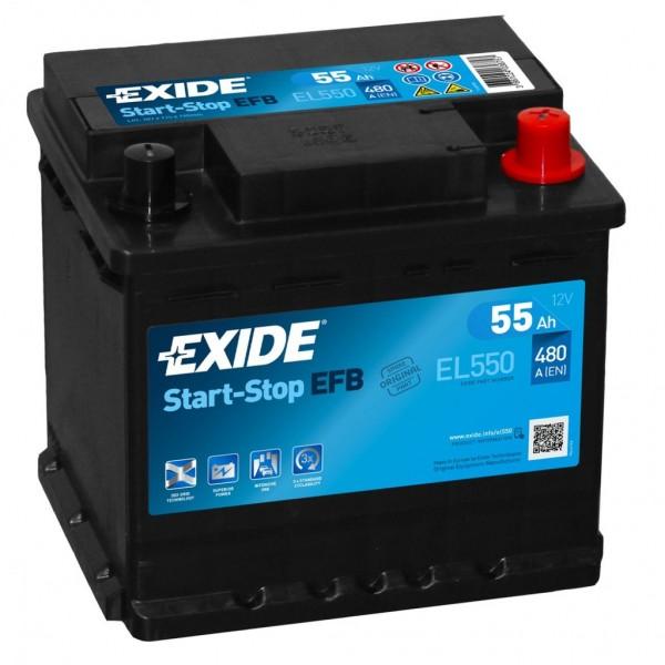 Batería Exide Efb EL550. 12V - 55Ah/480A (EN) Caja L1 (207x175x190mm)