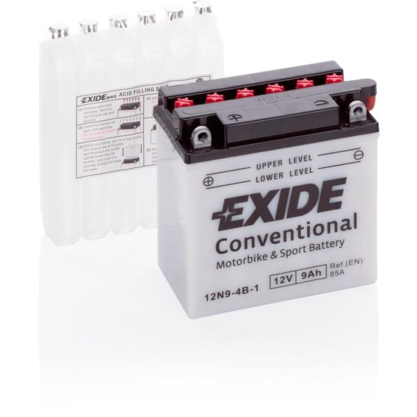 Batería Exide Moto 12V Conventional 12N9-4B-1. 12V - 9Ah/85A (EN) (135x75x140mm)
