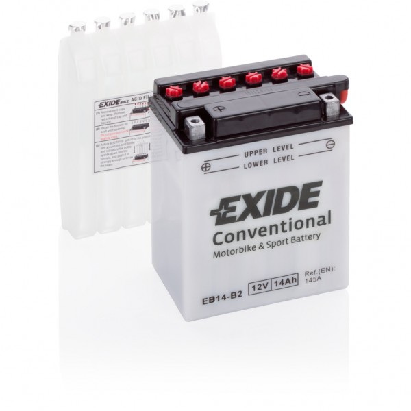 Batería Exide Moto 12V Conventional EB14-B2. 12V - 14Ah/145A (EN) (135x90x165mm)
