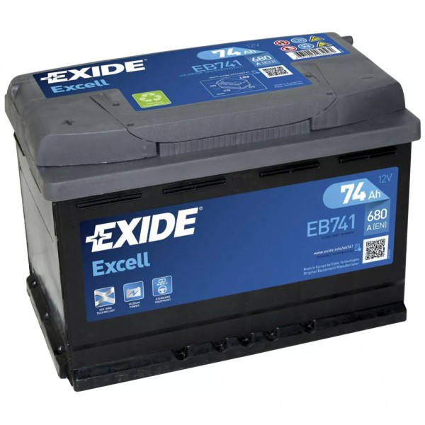 Batería Exide Excell EB741. 12V - 74Ah/680A (EN) Caja L3 (278x175x190mm)