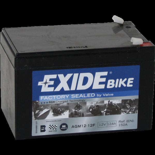 Batería Exide Moto 12V Agm Ready AGM12-12F. 12V - 12Ah/150A (EN) (150x100x100mm)