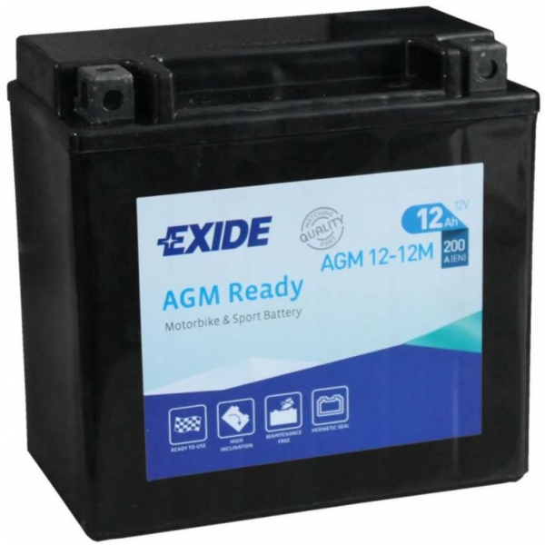 Batería Exide Moto 12V Agm Ready AGM12-12M. 12V - 12Ah/200A (EN) (150x90x145mm)