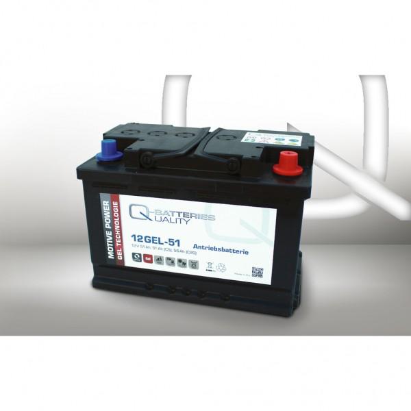 Batería Qbatteries Gel Traction Battery 12GEL-51. Tecnología GEL. 12V Caja L3 (276x175x190mm)