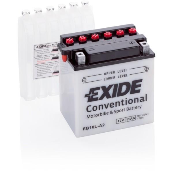 Batería Exide Moto 12V Conventional EB10L-A2. 12V - 11Ah/130A (EN) (135x90x145mm)