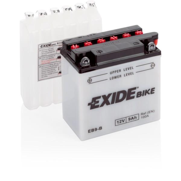 Batería Exide Moto 12V Conventional EB9-B. 12V - 9Ah/100A (EN) (135x75x140mm)