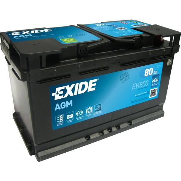 Batería Exide Agm EK800. Tecnología AGM. 12V - 80Ah/800A (EN) Caja L4 (315x175x190mm)