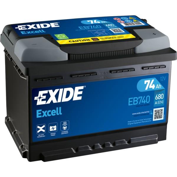 Batería Exide Excell EB740. 12V - 74Ah/680A (EN) Caja L3 (278x175x190mm)