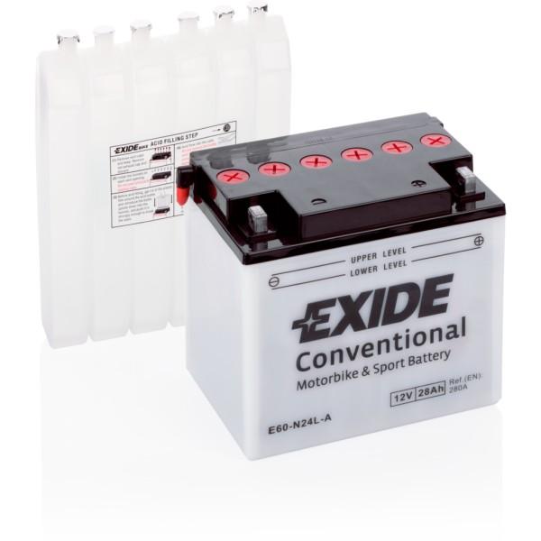 Batería Exide Moto 12V Conventional E60-N24L-A. 12V - 28Ah/280A (EN) (184x124x169mm)