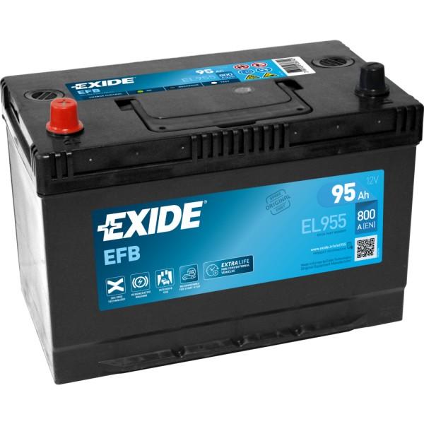 Batería Exide Efb EL955. 12V - 95Ah/800A (EN) Caja M27 (306x173x222mm)
