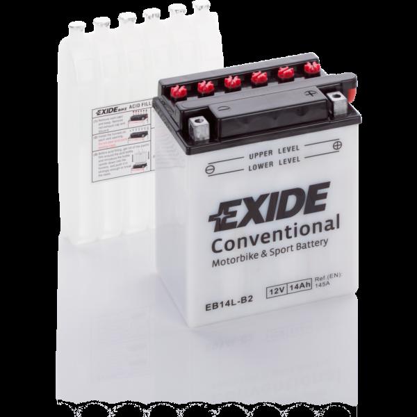 Batería Exide Moto 12V Conventional EB14L-B2. 12V - 14Ah/145A (EN) (135x90x165mm)