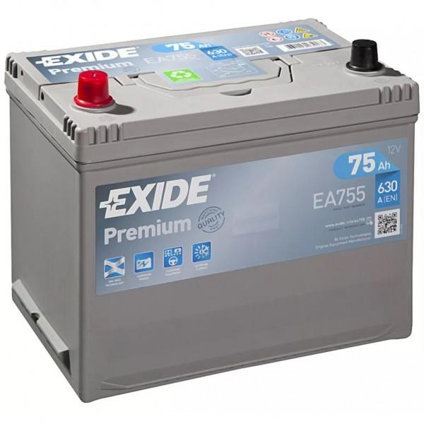 Batería Exide Premium EA755. 12V - 75Ah/630A (EN) Caja D26 (270x173x222mm)
