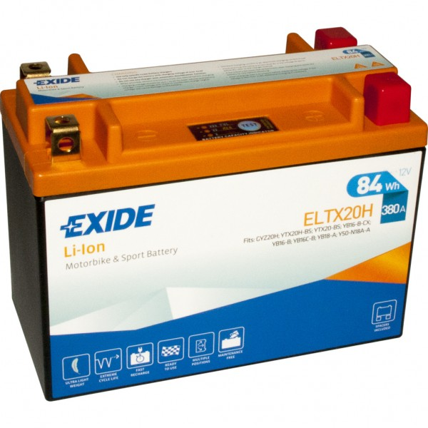 Batería Exide-Litio ELTX20H. 12V - 7Ah/380A (EN) (175x87x130mm)