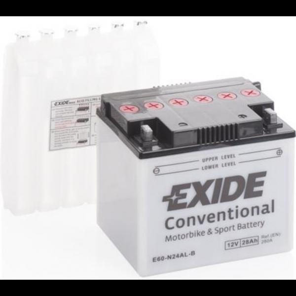 Batería Exide Moto 12V Conventional E60-N24AL-B. 12V - 28Ah/280A (EN) (184x124x169mm)